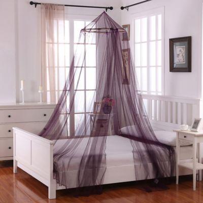 Oasis Round Hoop Sheer Bed Canopy In Purple