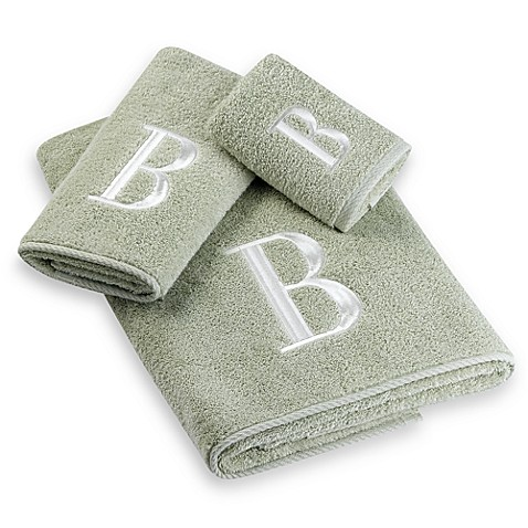 ivory monogram on sage bath towels by avanti 100 egyptian cotton bed bath beyond. Black Bedroom Furniture Sets. Home Design Ideas