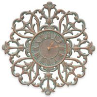 Whitehall Products 21-Inch Filigree Silhouette Indoor/Outdoor Wall Clock in Copper Verdigris