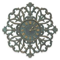 Whitehall Products 21-Inch Filigree Silhouette Indoor/Outdoor Wall Clock in Bronze Verdigris