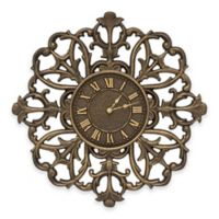 Whitehall Products 21-Inch Filigree Silhouette Indoor/Outdoor Wall Clock in Aged Bronze
