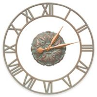 Whitehall Products Cambridge Wall Clock in Copper Verdigris