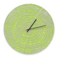 Whitehall Products End Grain Indoor/Outdoor Wall Clock in Acid Green/Silver