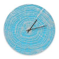 Whitehall Products End Grain Indoor/Outdoor Wall Clock in Scuba Blue/Silver