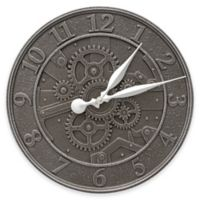 Whitehall Products 16-Inch Gear Indoor/Outdoor Wall Clock in Aged Iron
