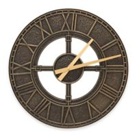 Whitehall Products Hera Indoor/Outdoor Wall Clock in Black/Gold