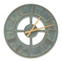 Whitehall Products Hera Indoor/Outdoor Wall Clock in Bronze Verdigris