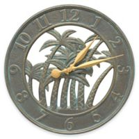 Whitehall Products Palm Wall Clock in Bronze Verdigris