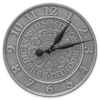 Whitehall Products Three Crowns in Coin 16-Inch Indoor/Outdoor Wall Clock in Pewter Silver