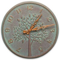 Whitehall Products Tree of Life 16-Inch Indoor/Outdoor Wall Clock in Copper Verdigris
