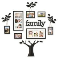 """WallVerbs™ 12-Piece """"Family"""" Branch Finial Tree Photo Frame Set in Black"""
