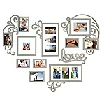WallVerbs™ 10-piece Heart Love Scroll Photo Frame Set in Silver