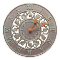 Whitehall Products Ivy Indoor/Outdoor Wall Clock in Copper Verdigris