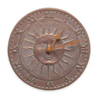 Whitehall Products Sunface Indoor/Outdoor Wall Clock in Copper Verdigris