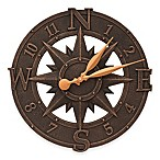 Whitehall Products Compass Rose Indoor/Outdoor Wall Clock in Oil Rubbed Bronze