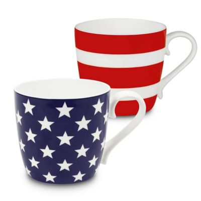 Konitz Stars And Stripes Mugs In Red Blue Set Of 2