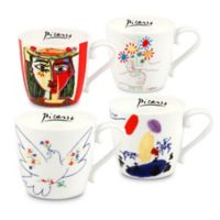 Konitz Picasso Mugs in White/Red (Set of 4)
