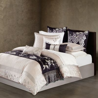 Natori Wisteria King Quilted Duvet Cover In Light Grey