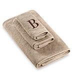 Avanti Premier Brown Block Monogram Letter  B  Bath Towel in Linen
