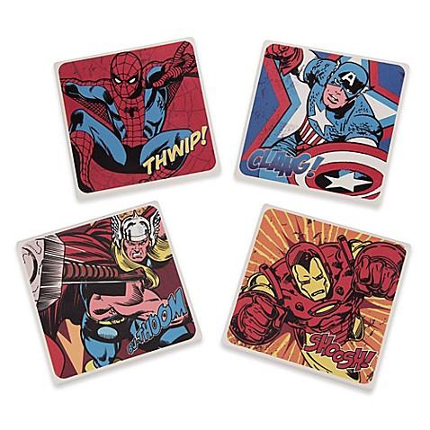 marvel comics ceramic coasters set of 4 bed bath beyond. Black Bedroom Furniture Sets. Home Design Ideas