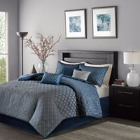 Madison Park Biloxi Full/Queen Duvet Cover Set in Navy