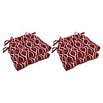 Arlee Home Fashions® Geometric Chair Pads in Burgundy (Set of 4)