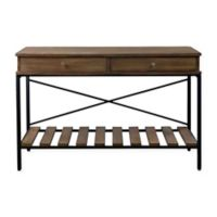 Baxton Studio Newcastle Console in Brown/Antique Bronze