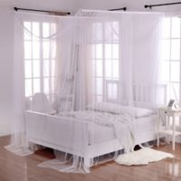 Crystal Sheer 4-Poster Bed Canopy in White