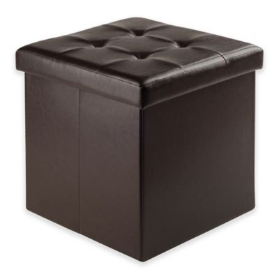 Winsome Trading Ashford Faux Leather Medium Storage Ottoman in Espresso - Buy Leather Storage Ottomans From Bed Bath & Beyond