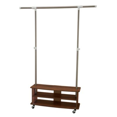 Household Essentials® Shoe Cubby Garment Rack In Medium Walnut