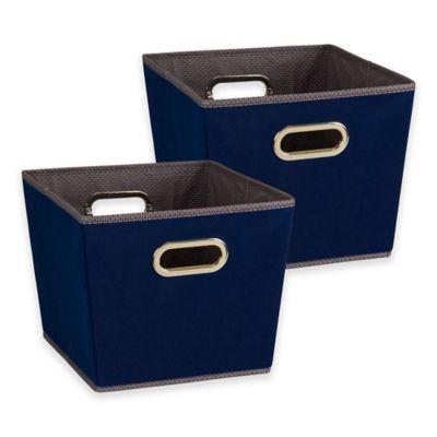 Household Essentials® Tapered Dobby Medium Storage Bins In Navy (Set Of 2)