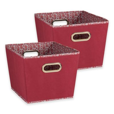 Household Essentials® Tapered Paisley Small Storage Bins In Burgundy (Set  Of 2)