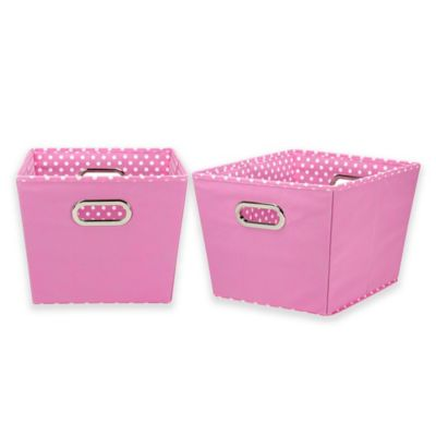 Delicieux Household Essentials® Tapered Mini Dot Medium Storage Bins In Pink (Set Of  2)