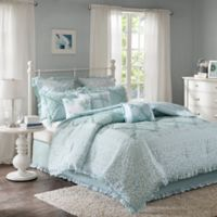 Madison Park Mindy 9-Piece California King Duvet Cover Set in Aqua
