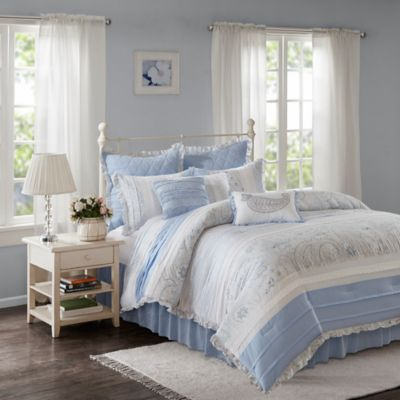 Madison Park Mirabelle Queen Duvet Cover Set In Blue