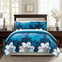 Chic Home Chrysa 3-Piece Reversible King Quilt Set in Blue