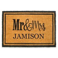 Nature by Geo Crafts Mr. & Mrs. Door 18-Inch x 30-Inch Mat in Natural/Black