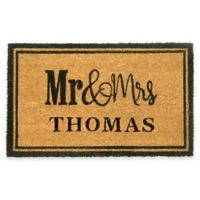 Nature by Geo Crafts Mr. & Mrs. 24-Inch x 36-Inch Door Mat in Natural/Black