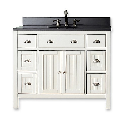 Buy avanity hamilton 43 inch single vanity in white black Bathroom vanity showrooms northern virginia