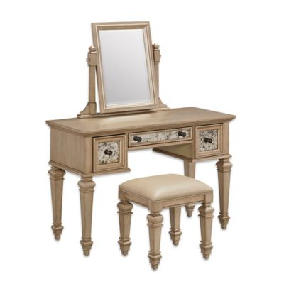 Home Styles Visions Vanity Set In Silver/Gold Champagne