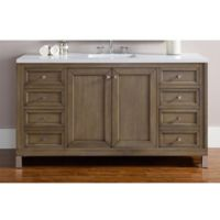 James Martin Furniture Chicago 60-Inch Single Vanity with Quartz Top in Walnut/Snow White