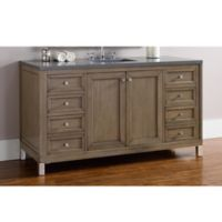 James Martin Furniture Chicago 60-Inch Single Vanity with Quartz Top in Walnut/Grey