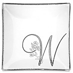 "Classic Touch Whimsy Glitter Monogrammed Letter ""W"" Charger Plate"