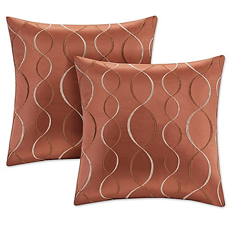 Buy Madison Park Serendipity 20-Inch Square Decorative Pillow in Orange (Set of 2) from Bed Bath ...