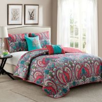 VCNY Casa Re'al 4-Piece Twin Quilt Set in Pink/Turquoise