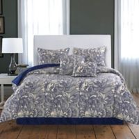 Flowers and Doodles Reversible Twin Comforter Set in Blue