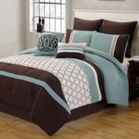 Tolbert 8-Piece King Comforter Set in Blue/Brown/Ivory