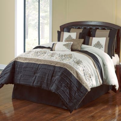 Jacob 8 Piece Queen Comforter Set In Black/Gold