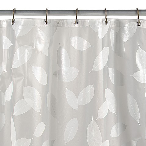 Modern Leaf White Vinyl Shower Curtain - Bed Bath & Beyond