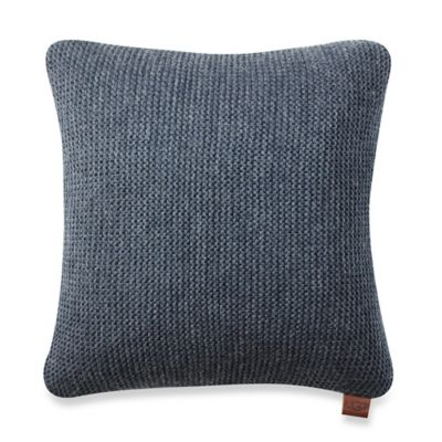 buy metallic cable knit square throw pillow in navy from bed bath beyond. Black Bedroom Furniture Sets. Home Design Ideas